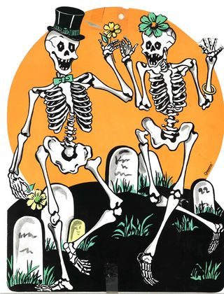 Halloween Flying Witch and Happy Skeletons