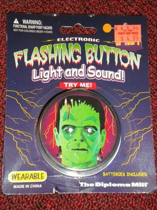 Halloween Flashing Button Frankenstein Monster