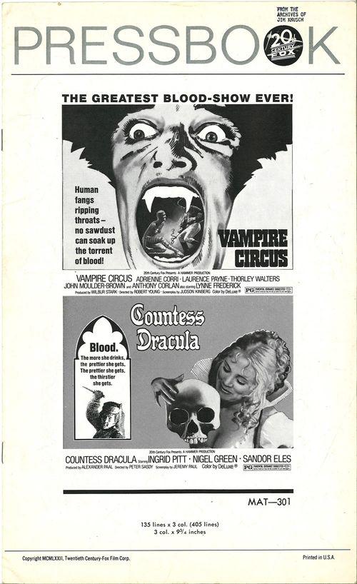 vampire circus countess dracula pressbook