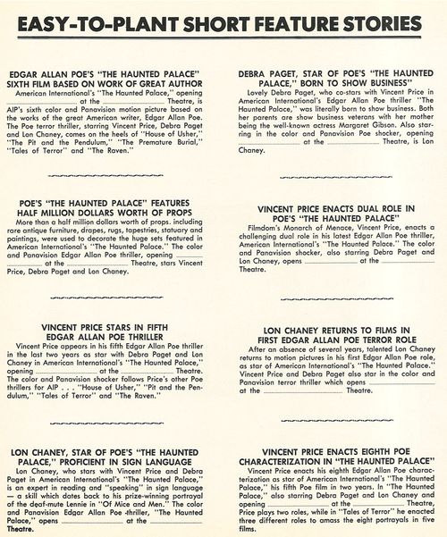 the haunted palace pressbook