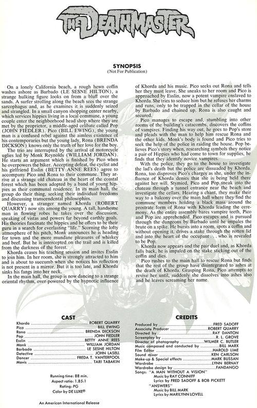 the deathmaster pressbook