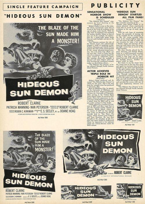 hideous sun demon pressbook