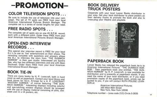 dunwich horror pressbook