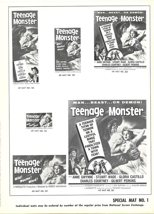 teenage monster pressbook
