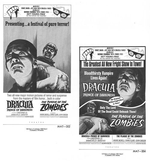 dracula and plague of the zombies pressbook