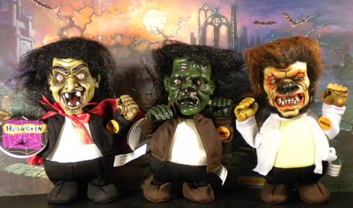 halloween ghoulish walkers, dracula, wolf man, frankenstein