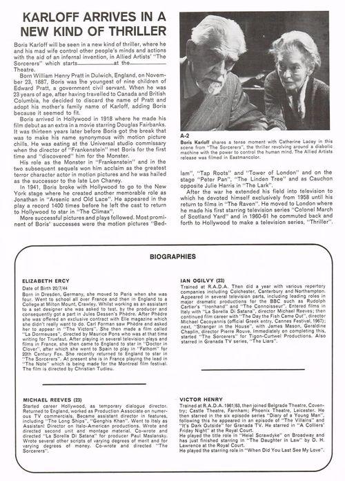 the sorcerers boris karloff pressbook