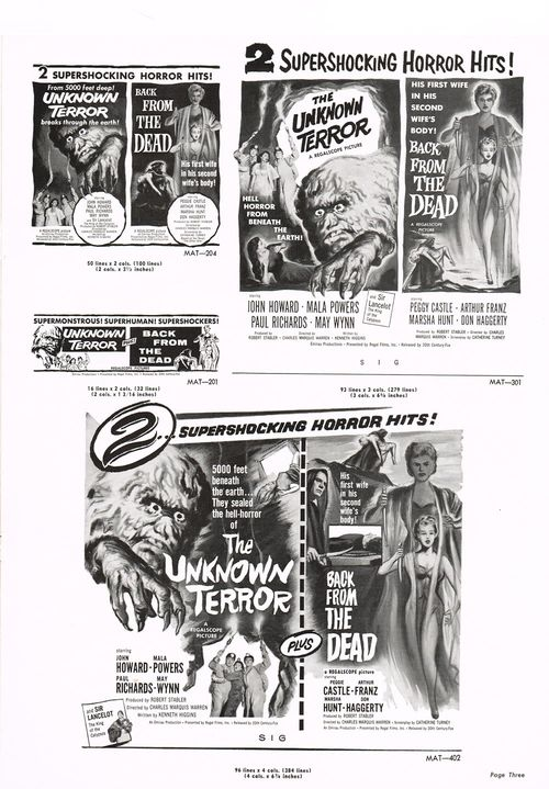 the unknown terror and back from the dead pressbook