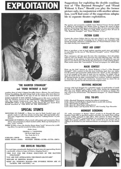 double bill pressbook the haunted strangler fiend without a face