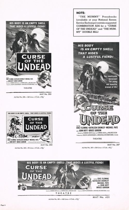 curse of the undead pressbook