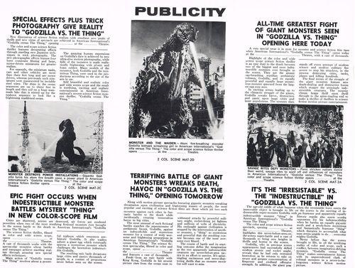 godzilla vs. the thing pressbook