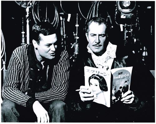 roger corman and vincent price on set