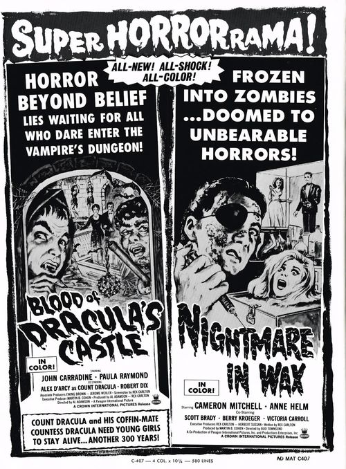 nightmare in wax and blood of dracula's castle pressbook
