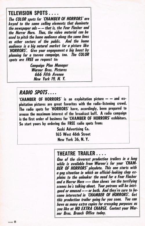 chamber of horrors pressbook