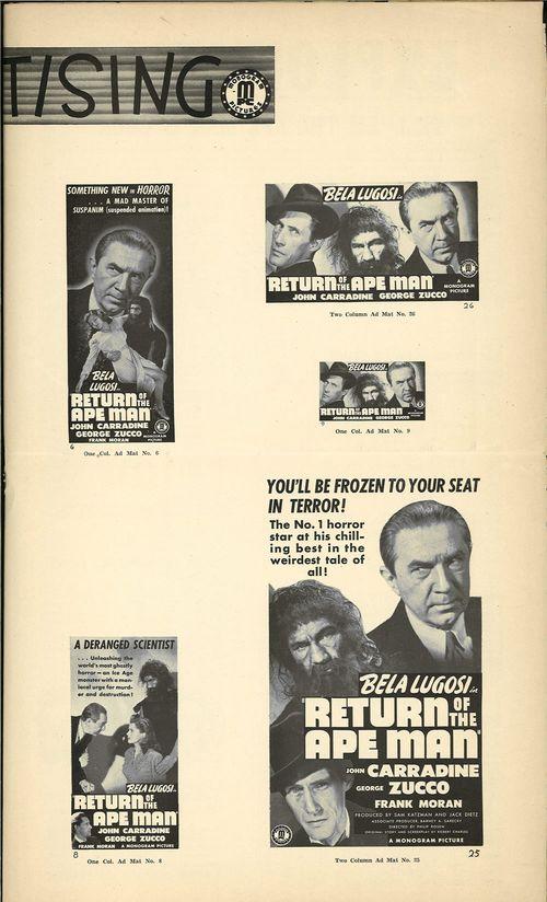 return of the ape man pressbook bela lugosi