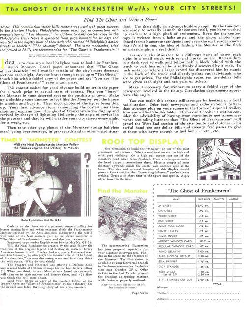ghost of frankenstein pressbook