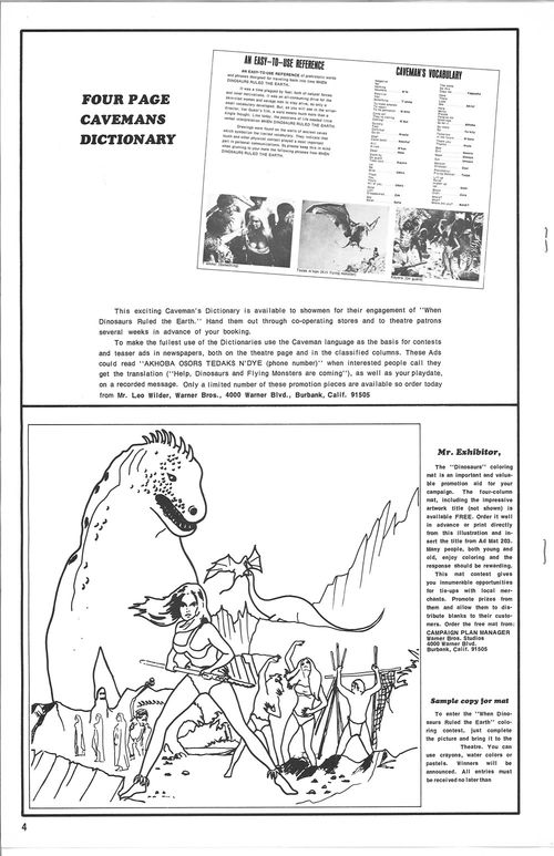 when dinosaurs ruled the earth pressbook