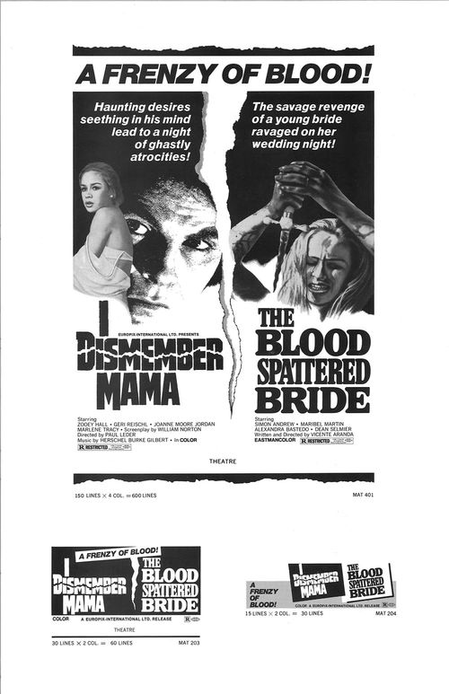I Dismember Mama The Blood Splattered Bride Double Bill Pressbook