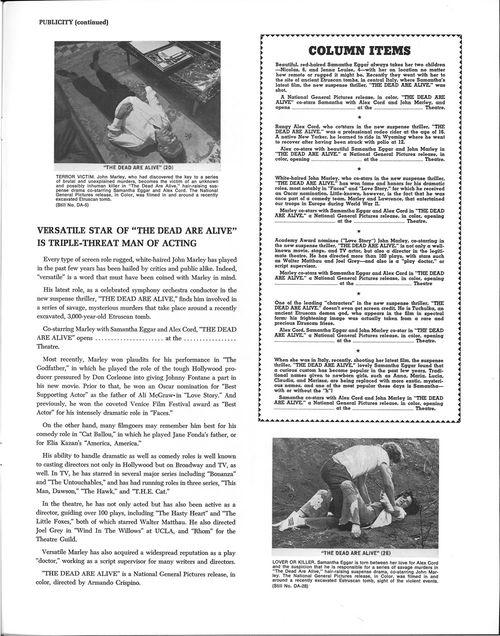 the dead are alive pressbook