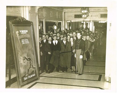 theater audience waiting to see Frankenstein