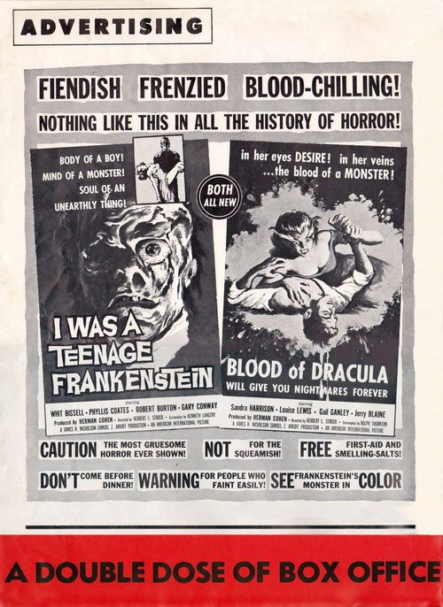 i was a teenage werewolf and i was a teenage frankenstein pressbook