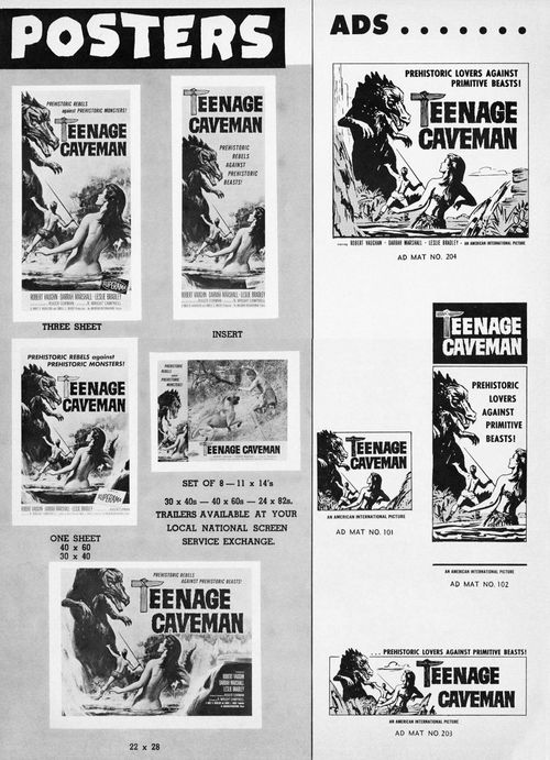 how to make a monster and teenage caveman pressbook