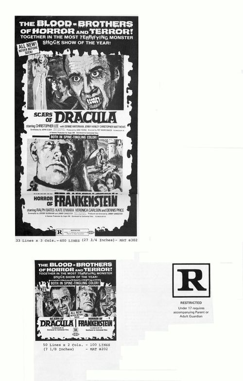 horror of frankenstein and scars of dracula pressbook
