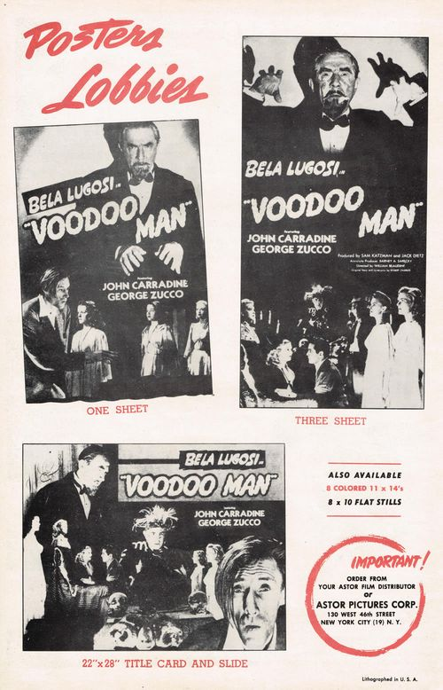 bela lugosi in voodoo man pressbook
