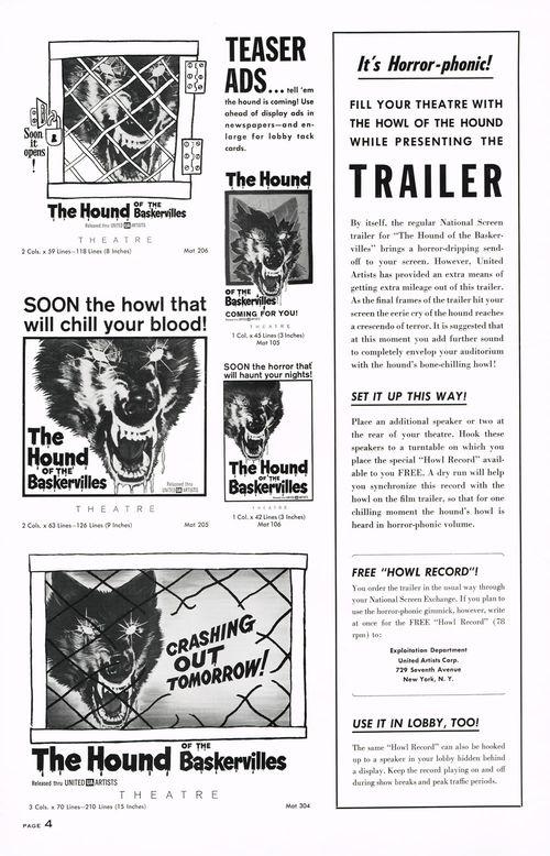 hound of the baskervilles pressbook