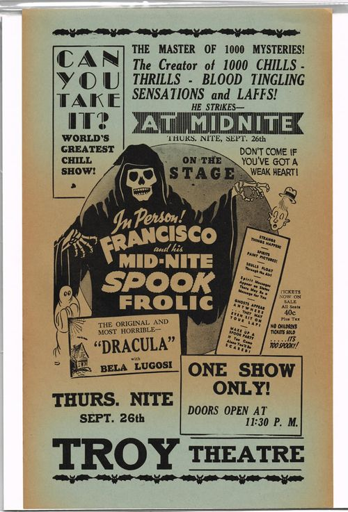 Francisco's Mid-Nite Spook Frolic Promotion Flyer