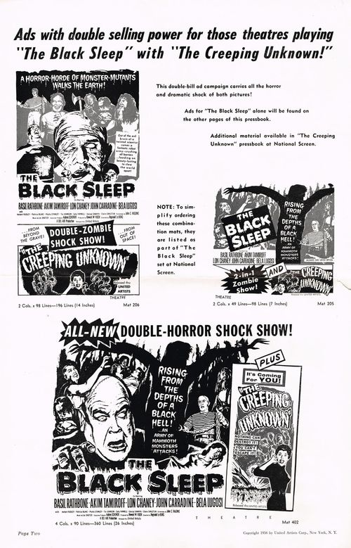 The Black Sleep and The Creeping Unknown Double Bill Pressbook