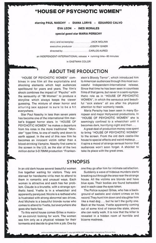 House of Psychotic Women Pressbook