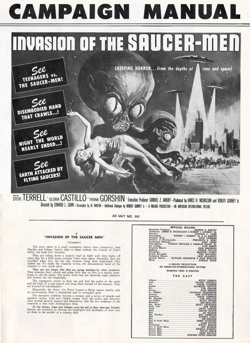 I was a teenage werewolf invasion of the saucer-men pressbook