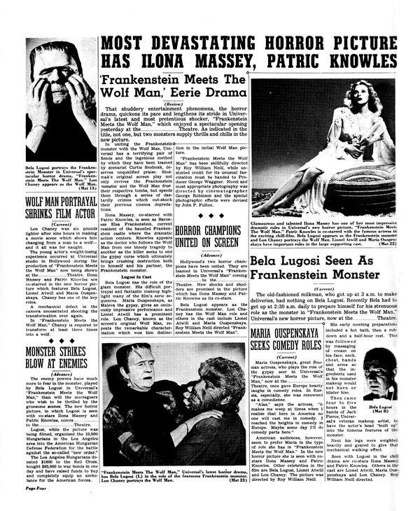 Movie Pressbook: Frankenstein Meets the Wolf Man (1943 ...