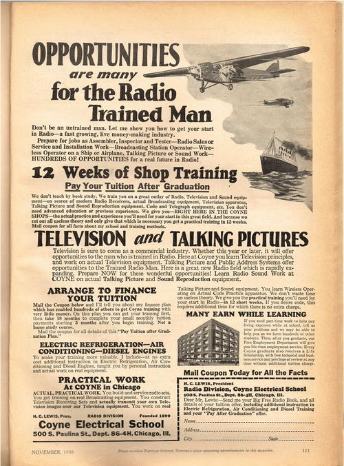 advertisement popular science 1936 radio television