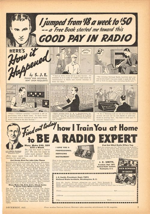 popular mechanics 1937 radio ad