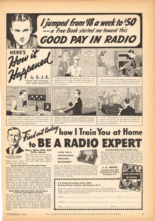 popular mechanics 1937 radio ad