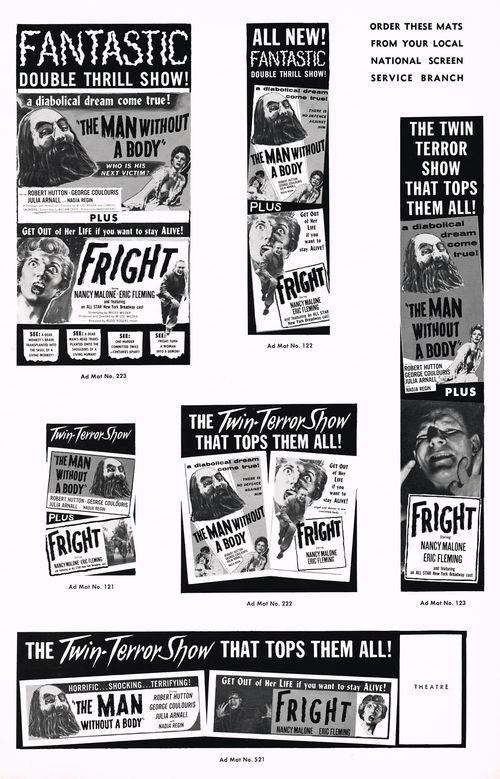 The Man Without a body and Fright Double Bill Pressbook