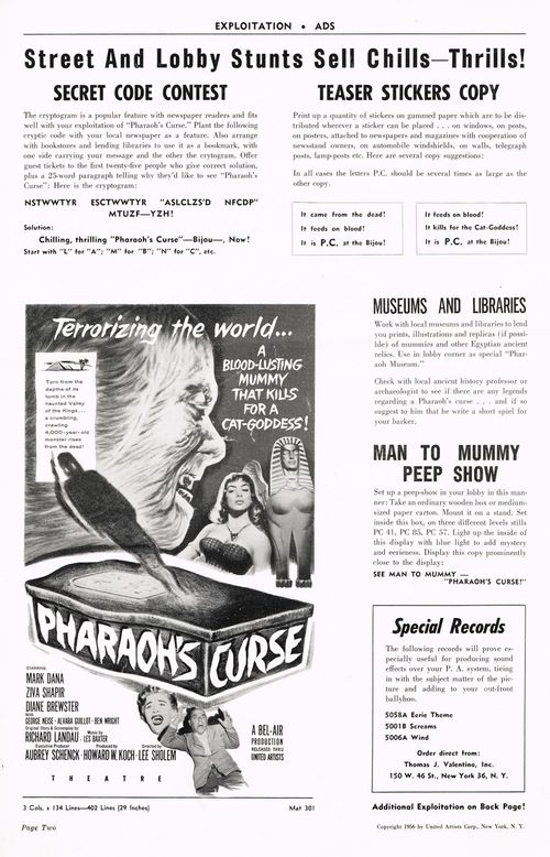 Pharaoh's Curse Pressbook