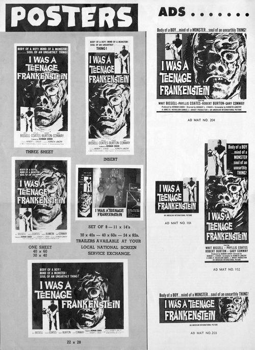 i was a teenage werewolf and i was a teenage frankenstein pressbook