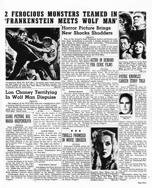 frankenstein meets the wolf man pressbook