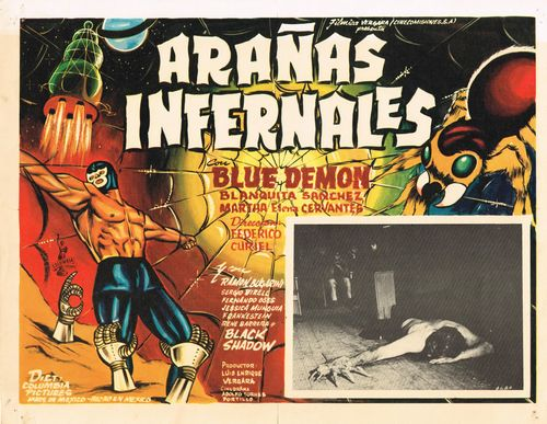 Aranas Infernales Con Blue Demon Mexican Lobby Card