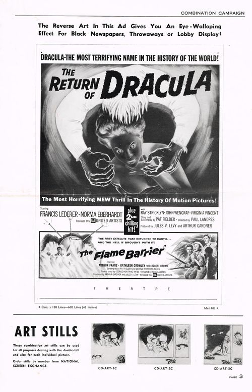 the return of dracula and flame barrier pressbook