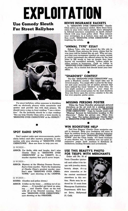 charlie chan shadow over chinatown pressbook