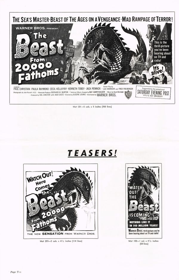 Movie Pressbook: The Beast From 20,000 Fathoms Part 1 ...