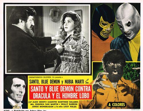 Santo Y Blue Demon Contra Dracula aztec mexican lobby card