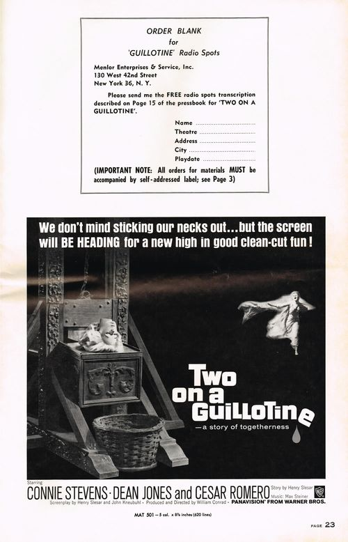 Two on a Guillotine Pressbook