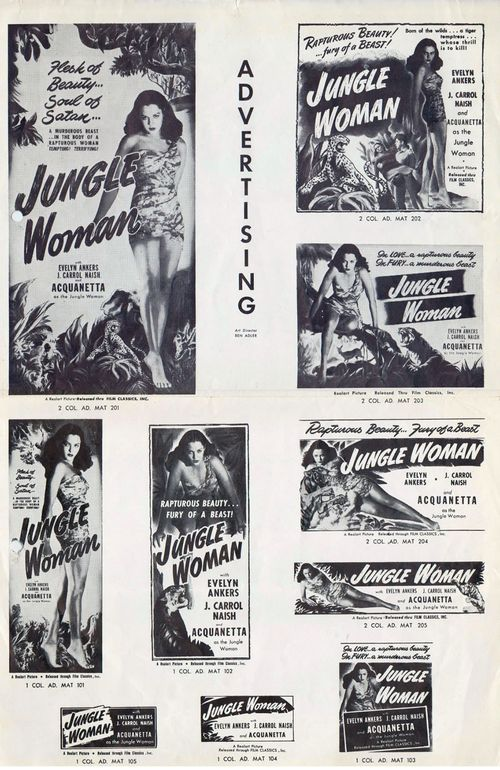 Jungle Woman 1948 Realart Pressbook