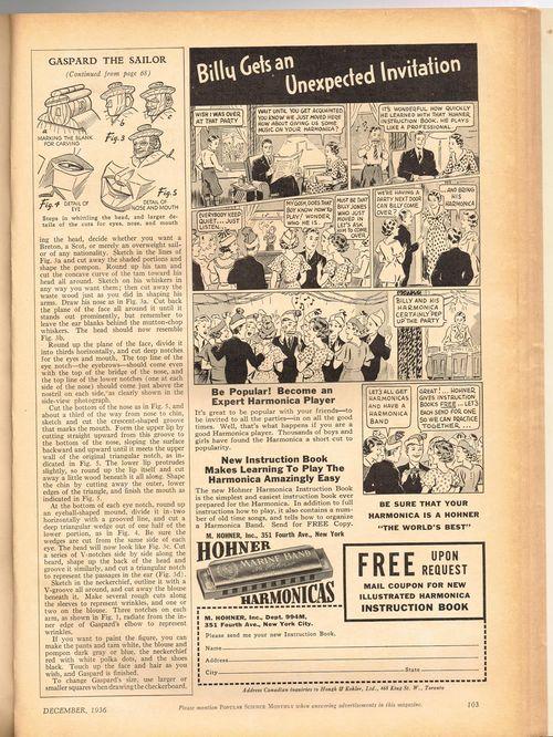 harmonica ad in popular science 1936