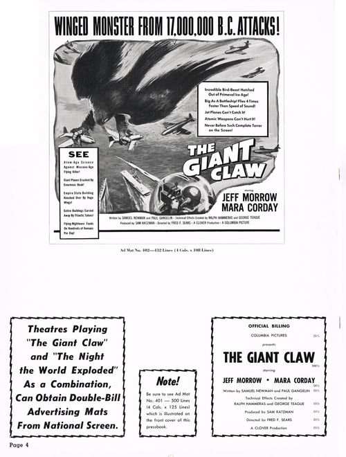 The Giant Claw Pressbook